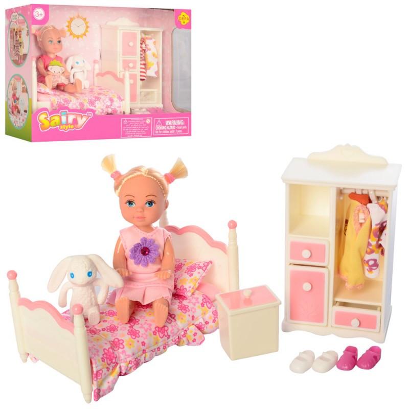 купить игровой набор маленькая кукла с набором мебели спальня