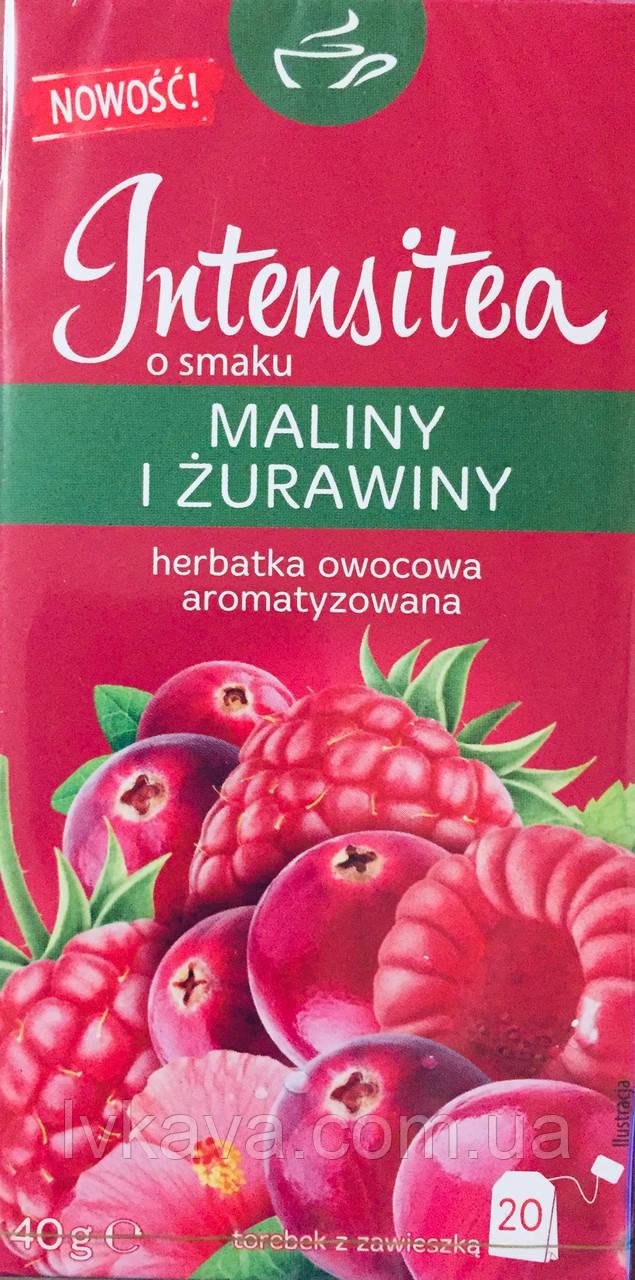 Чай фруктовый Intensitea  со вкусом малины и клюквы , 20 пак
