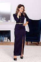 Женское силуэтное платье в пол из французкого трикотажа под пояс 36,38,40,42 (евро )