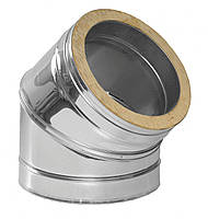 Колено 45° из нерж. стали с теплоизоляцией в цинковом кожухе 0,5мм ф250/320