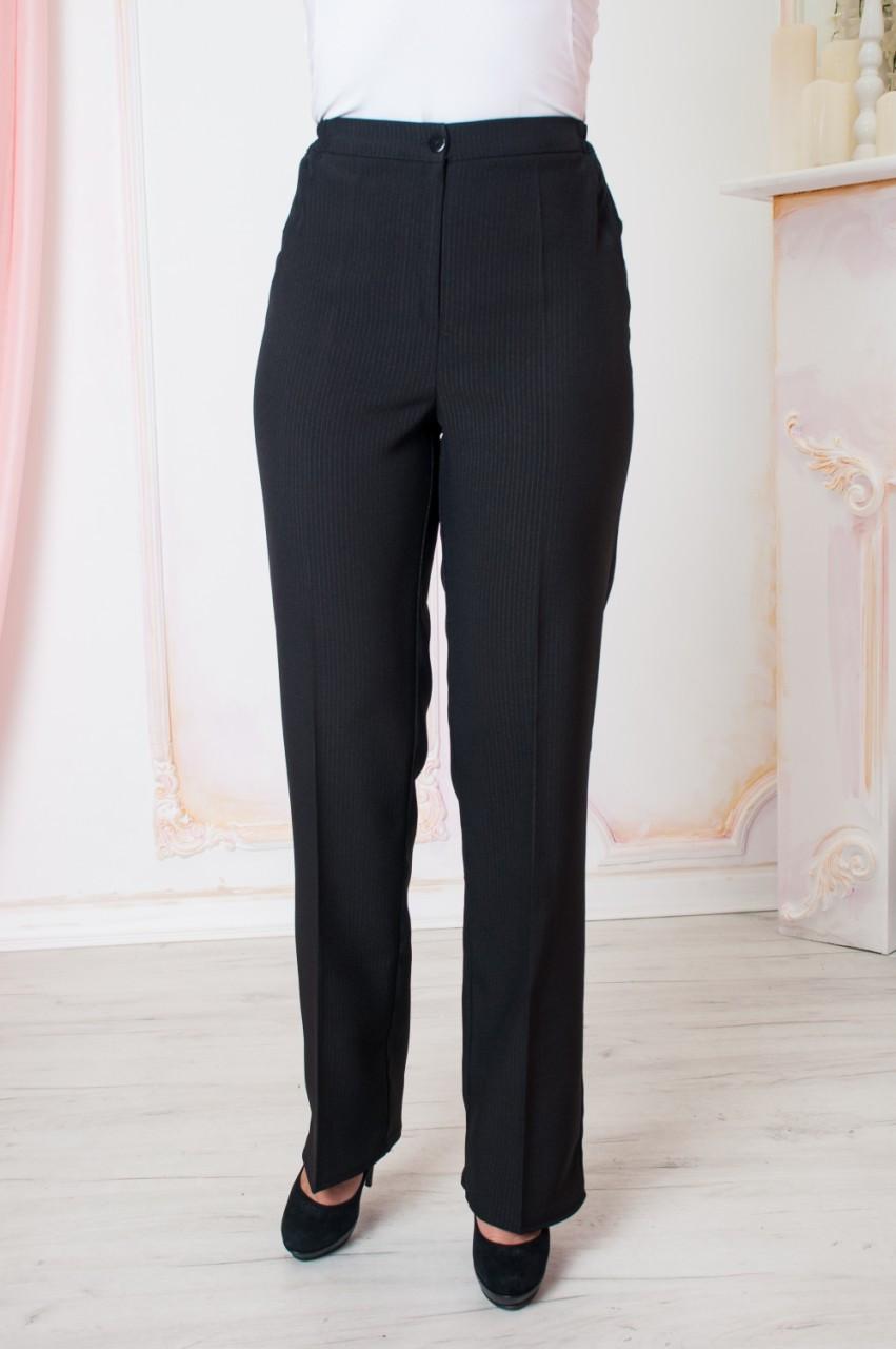 Прямые женские брюки больших размеров Светлана черные
