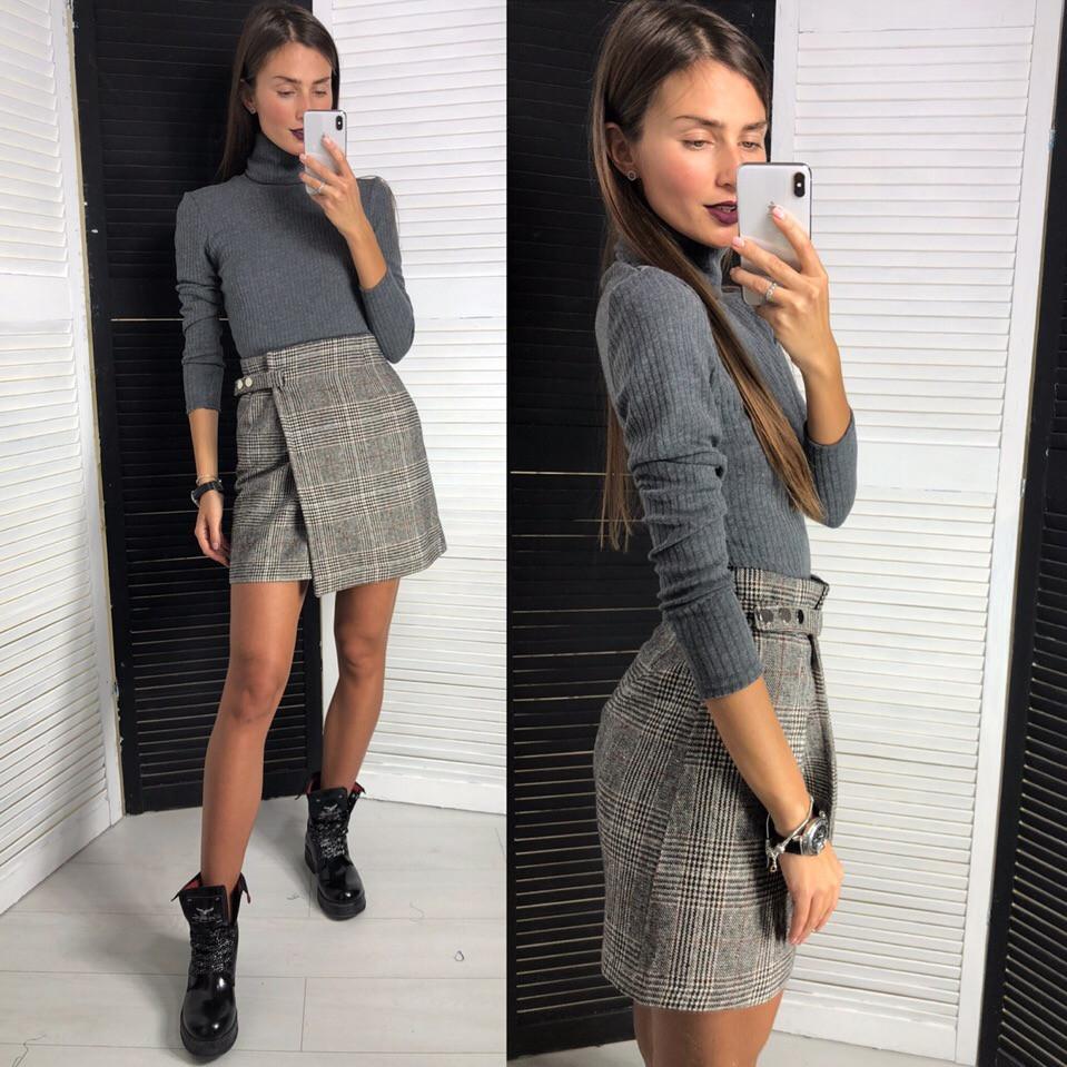Женская короткая юбка на запах 42-46