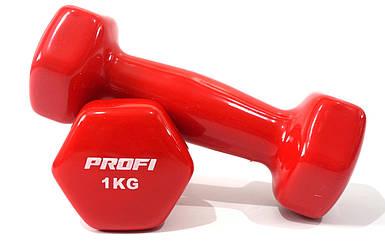 Гантель Profi 1 кг с виниловым покрытием (Красная) - 1шт.