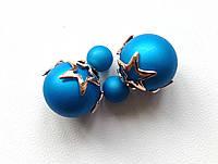 Серьги пуссеты Dior Star синие , бижутерия серьги