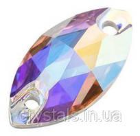 Лодочки пришивные хрустальные Preciosa (Чехия) 12x6 мм Crystal AB