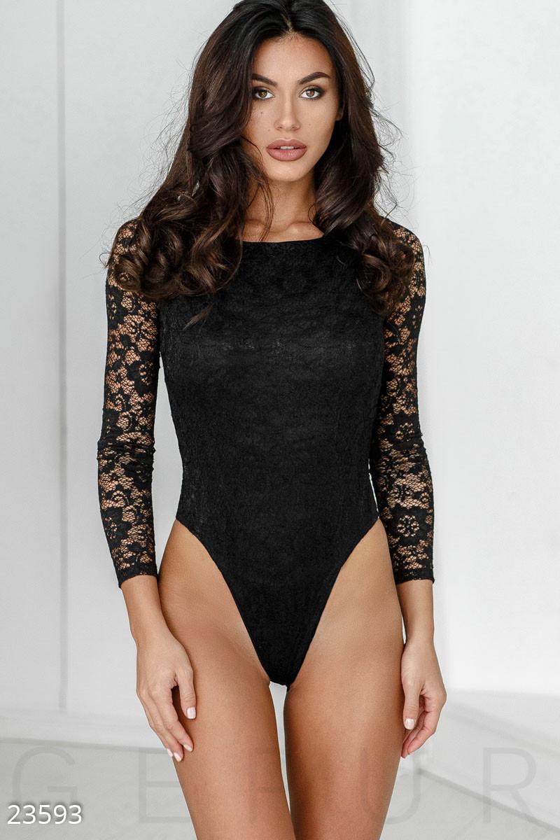 Вечернняя гипюровая боди-блузка
