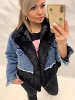 Женская Куртка джинсовая с натуральным мехом кролика