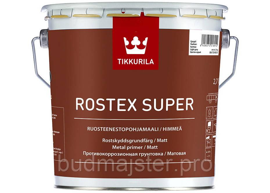 Грунт протикорозійний Тіккуріла Ростекс Супер,1 л світло-сіра