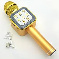 Беспроводной микрофон Караоке с динамиком USB AUX Wster WS-1818 в коробке Золото