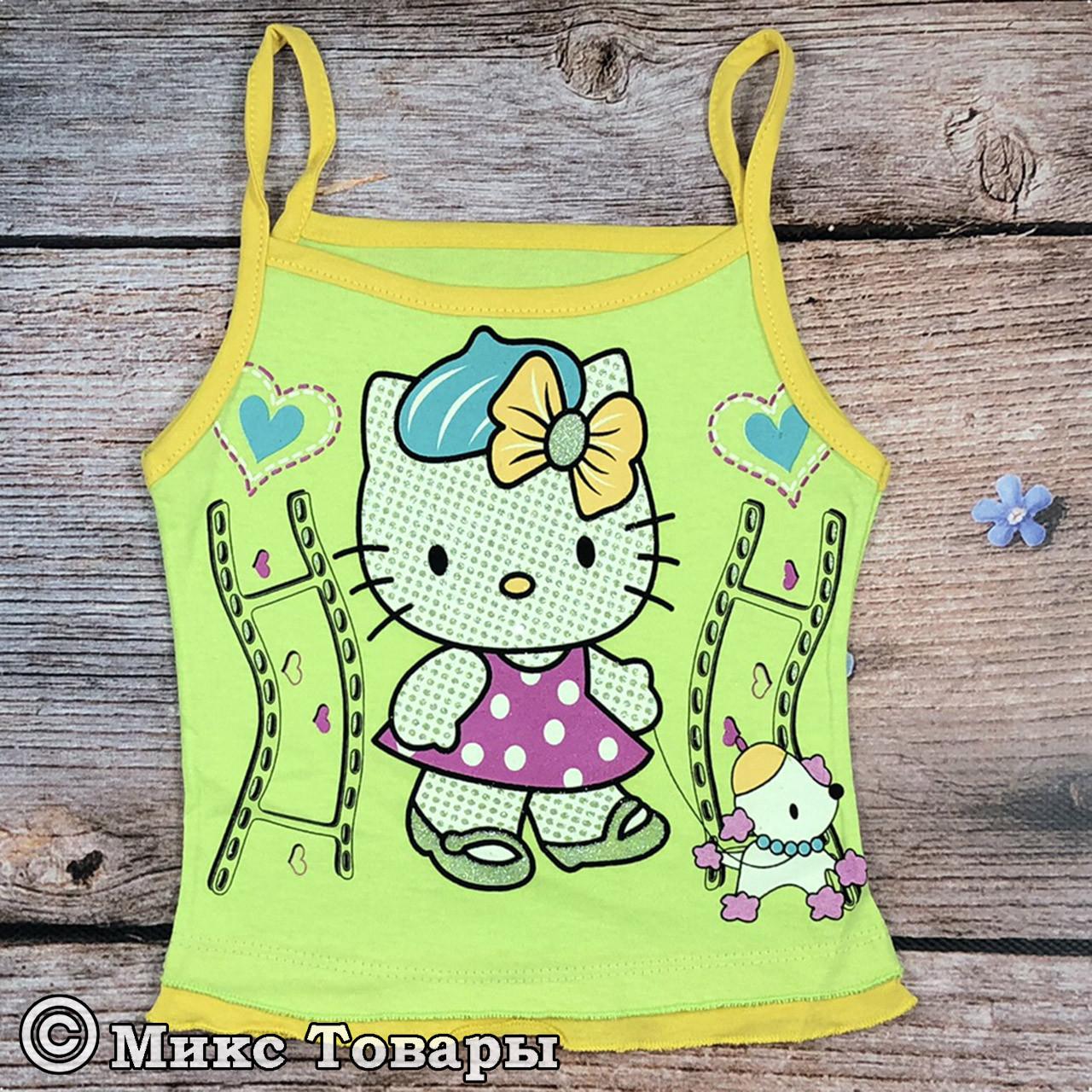 Детские Майки Hello Kitty для девочек Размеры: 1,2,3,4,5 лет (8085-1)