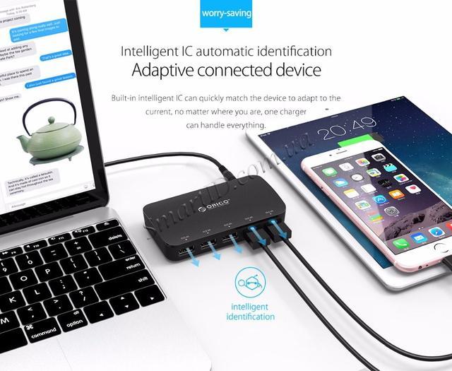 Зарядное устройство Orico Smart Desktop Charger 25W 5 USB-портами DCP-5U Черное