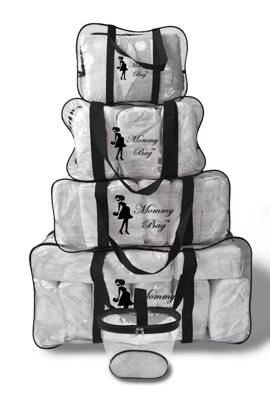 Набор из 4+1 прозрачных сумок в роддом Mommy Bag - S,M,L,XL - Черные