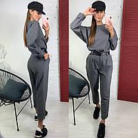 Комбинезон женский с брюками в стиле спорт шик с поясом и карманами Dld1320, фото 1