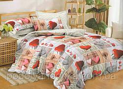 Двоспальний комплект з сатину Валентинки