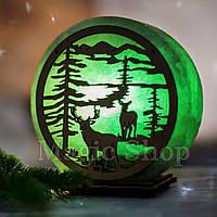 Соляная лампа HealthLamp Лес Зеленый | Ночник из природной соли с регулятором яркости
