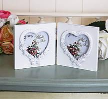 Фоторамка двойная-2 сердца Гранд Презент 25554