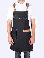 Джинсовый фартук официанта с кожаными ремнями, униформа, индивидуальный пошив, все размеры