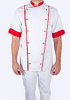Униформа для повара, китель белый с красной отделкой, индивидуальный пошив, все размеры
