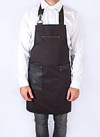 Фартук официанта черный с кожаной отделкой, дизайнерская униформа, индивидуальный пошив, все размеры