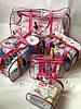 Набор из 4+1 прозрачных сумок в роддом Mommy Bag - S,M,L,XL - Розовые, фото 3