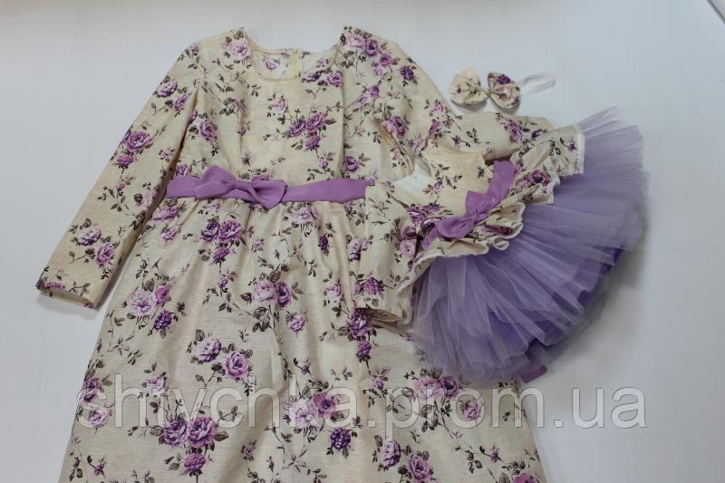"""Нарядные платья на маму и доченьку """" Сиреневые цветочки"""""""