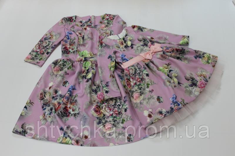 Платья на маму и доченьку с рукавами с нежной ткани с костюмки