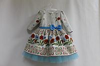 Нарядное платье на девочку в укр стиле с голубым фатином и рукавами