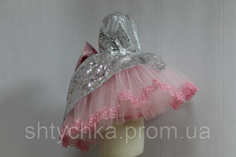 """Нарядное платье на девочку """"Блестящее наслаждение"""" с пайетками и розовым фатином с кружевом"""