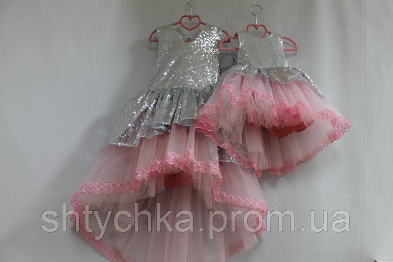"""Нарядное платье на девочку """"Блестящее наслаждение"""" с пайетками и розовым фатином с кружевом и бантиком сзади"""