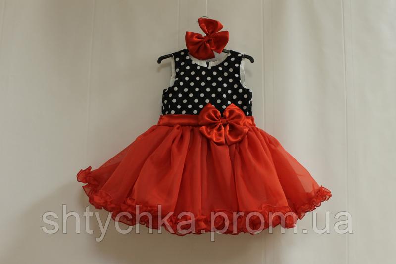 """Нарядное платье на девочку """"горошек с красным низом"""" без рукавов"""