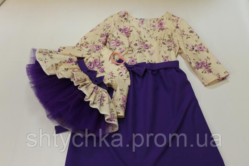 """Повседневно - нарядные платья на маму и доченьку """" Сиреневые цветочки"""" с фиолетовым низом и рукавами"""