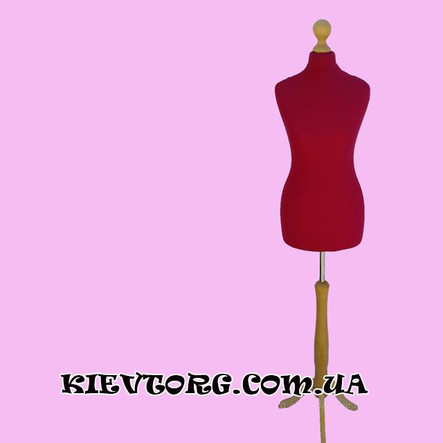 Манекен портновский женский пенопластовый красный на деревянной ножке