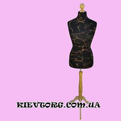 Манекен портновский женский торс черный с узором для ателье (пошива одежды) пенопластовый (Польша)