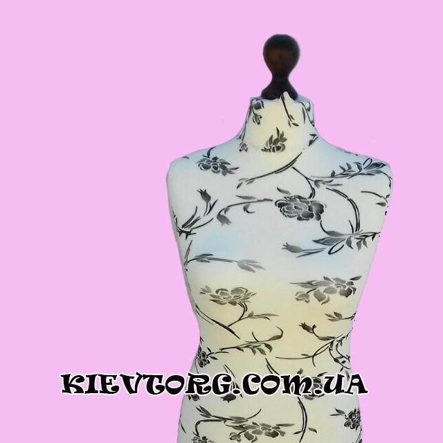 Манекен портновский женский белый с узором на подставке
