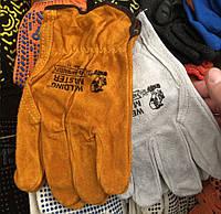 Перчатки рабочие, краги сварщика, короткие (серые) натуральная кожа размер 11
