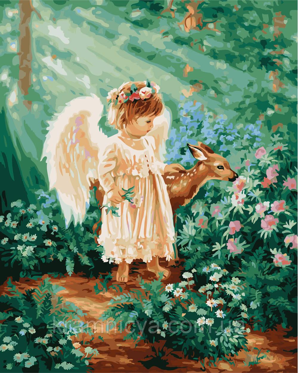 Картина по номерам 40х50 Ангелочек в лесу (GX21471)