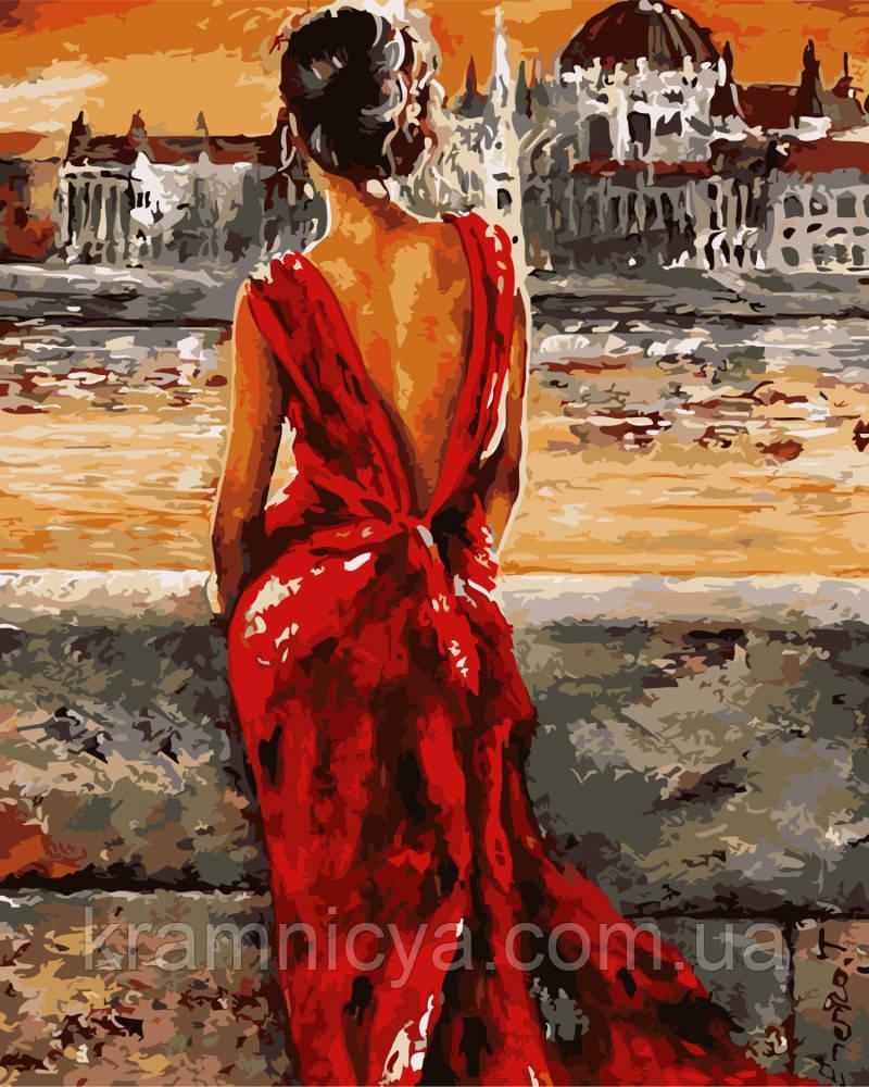 Картина по номерам 40х50 Итальянка в красном (GX8946)