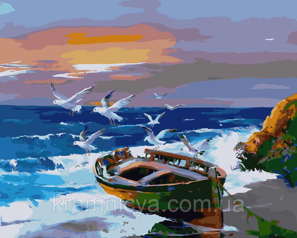 Картина по номерам 40х50 Чайки над лодкой (GX21832)