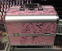 Чемодан мастера металлическая раздвижная (розовый с росписью)