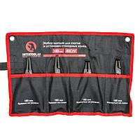 Набор щипцов (4шт) для снятия и установки стопорных колец 180мм, 40CrV, фосфатированные. INTERTOOL HT-7015