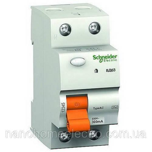 Дифференциальный выключатель УЗО ВД63 2п 25А 300мА Schneider