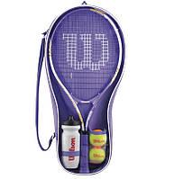 Набор для большого тенниса WILS VENUS/SERENA STARTER SET (1рак+2мяча+бут. для воды, PVC)