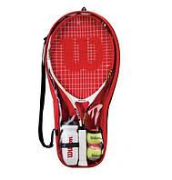 Набор для большого тенниса WILS  ROGER FEDERER (1рак+2мяча+бут. для воды, PVC-чехол, кр)