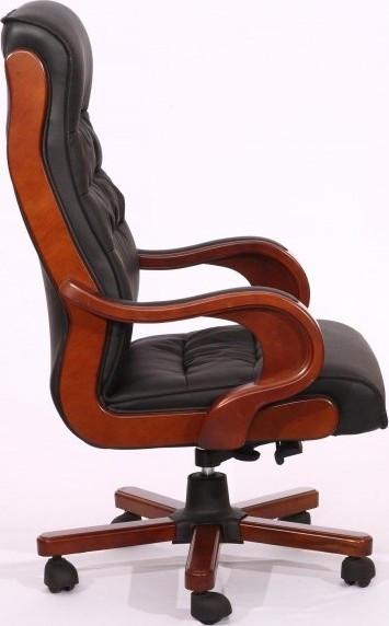 Кресло Президент 02 (6243 Black PU+PVC) чёрный. Вид сбоку.