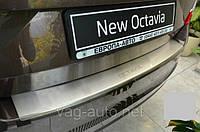 Накладка защитная на задний бампер Octavia A7 (5E) с загибом, фото 1
