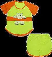 Детский летний костюмчик: футболка и шортики, хлопок; ТМ Беби Арт, р. 74, 80, 86, 92, 98, 104, Украина 104 Зеленый