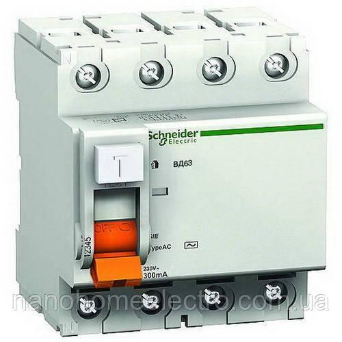 Дифференциальный выключатель УЗО ВД63 4П 63А 30 мА Schneider Electric