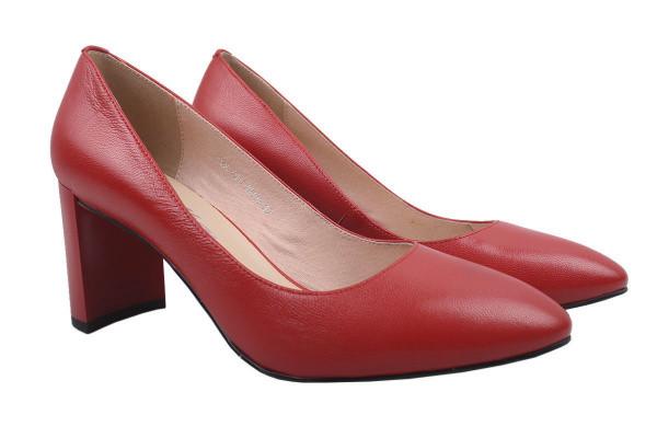 Туфли женские на каблуке Molka натуральная кожа, цвет красный