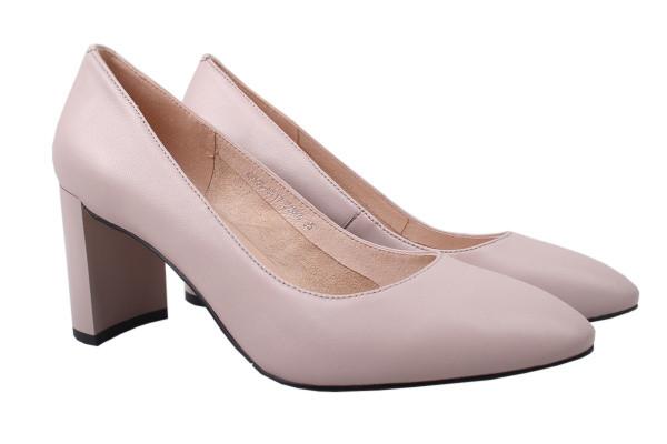 Туфли женские на каблуке Molka натуральная кожа, цвет бежевый