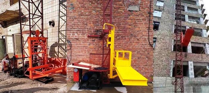 Н-51 м, г/п 750 кг. Мачтовый подъёмник для подачи стройматериалов секционный с выкатной платформой. Подъёмники